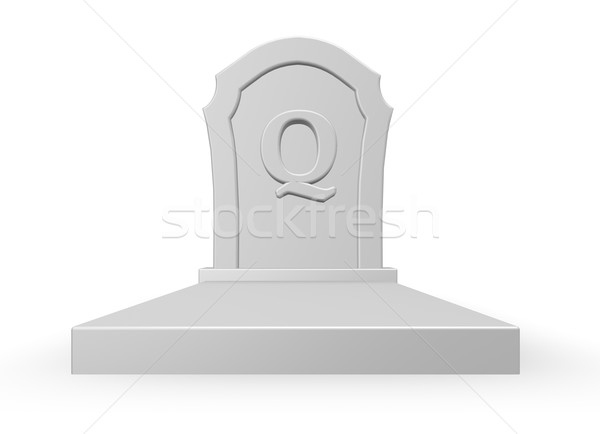 gravestone with uppercase letter q on white background - 3d rendering Stock photo © drizzd