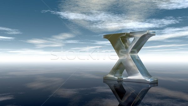 metal uppercase letter x under cloudy sky - 3d rendering Stock photo © drizzd