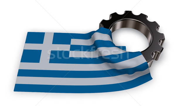 gear wheel and flag of greece - 3d rendering Stock photo © drizzd