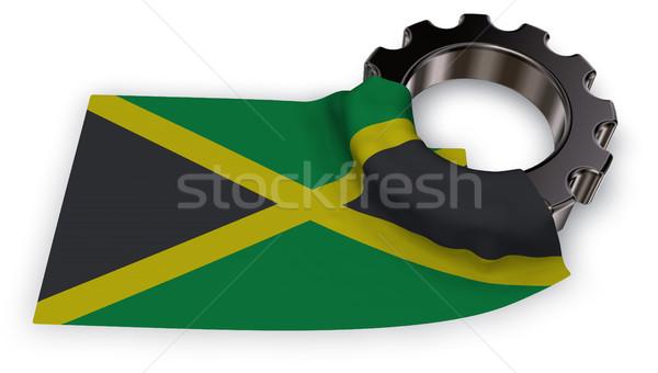 ギア ホイール フラグ ジャマイカ 3D レンダリング ストックフォト © drizzd