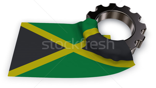 Dişli tekerlek bayrak Jamaika 3D Stok fotoğraf © drizzd