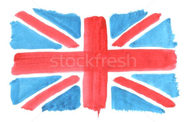 İngiliz bayrağı el boyalı arka plan mavi kırmızı Stok fotoğraf © drizzd