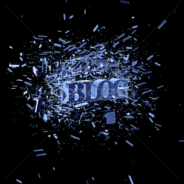 Blog woord explosie 3d illustration internet Blauw Stockfoto © drizzd