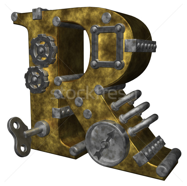 Steampunk lettre r blanche 3d illustration horloge art Photo stock © drizzd