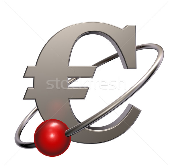 Red sphere fly around metal euro symbol - 3d illustration Stock photo © drizzd