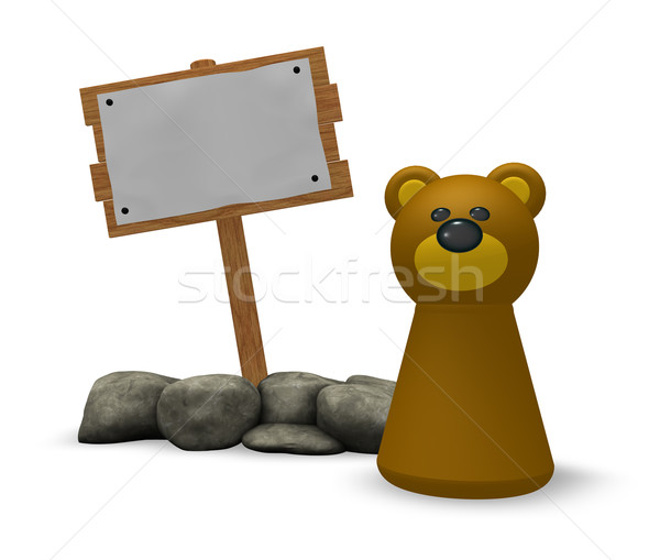 bear and blank wooden sign Stock photo © drizzd