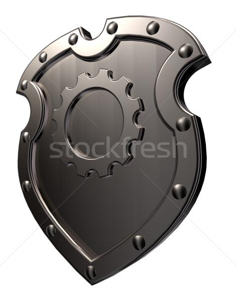 Bouclier engins roue métal symbole blanche Photo stock © drizzd