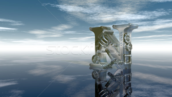 machine letter n under cloudy sky - 3d illustration Stock photo © drizzd