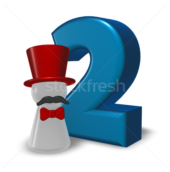number two and pawn with hat and beard - 3d rendering Stock photo © drizzd
