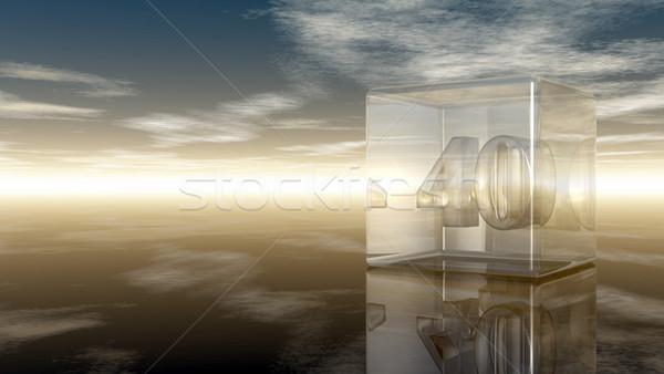 Numero quaranta vetro cubo nuvoloso cielo Foto d'archivio © drizzd
