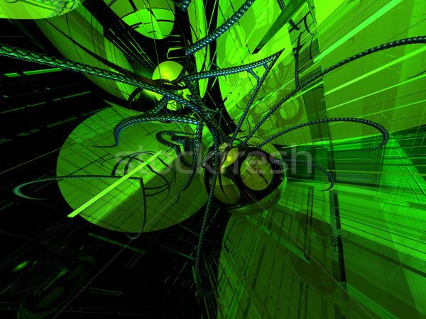 Tecnologia abstrato futurista néon luz ilustração 3d Foto stock © drizzd