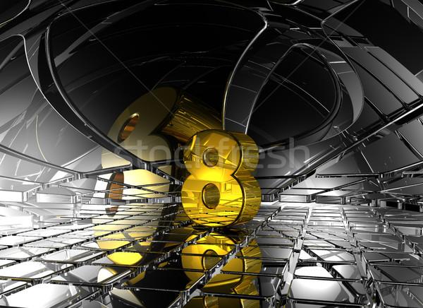 Szám nyolc absztrakt futurisztikus űr 3D Stock fotó © drizzd