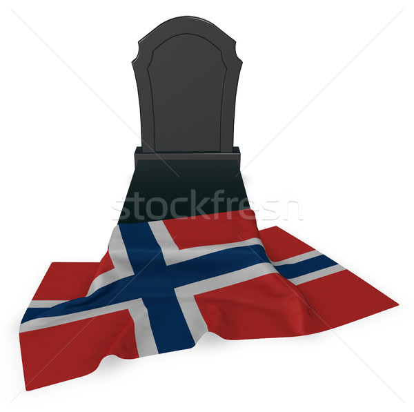 gravestone and flag of norway - 3d rendering Stock photo © drizzd