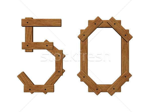 Fából készült szám ötven fehér 3d illusztráció fa Stock fotó © drizzd