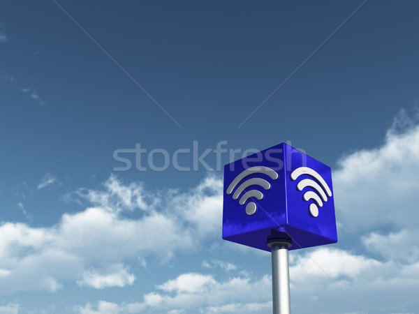 wifi symbol on cube undercloudy sky - 3d rendering Stock photo © drizzd
