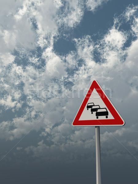Korku znak drogowy mętny Błękitne niebo 3d ilustracji niebo Zdjęcia stock © drizzd