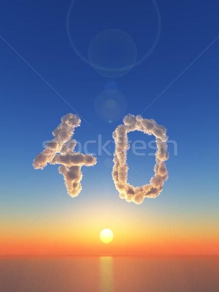 Mętny czterdzieści chmury numer 3d ilustracji Zdjęcia stock © drizzd