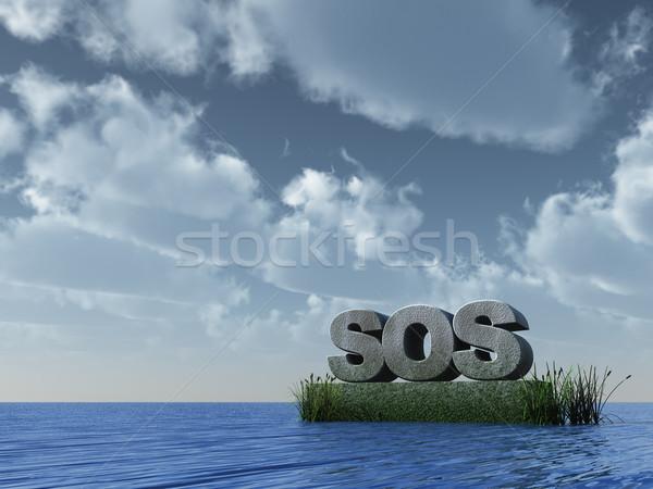 Sos oceano ilustração 3d água mar assinar Foto stock © drizzd