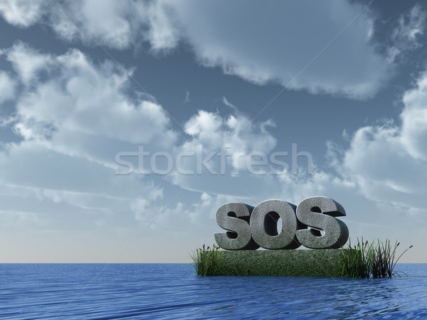 Sos océan 3d illustration eau mer signe Photo stock © drizzd