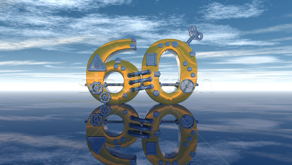 steampunk number sixty under blue sky - 3d rendering Stock photo © drizzd