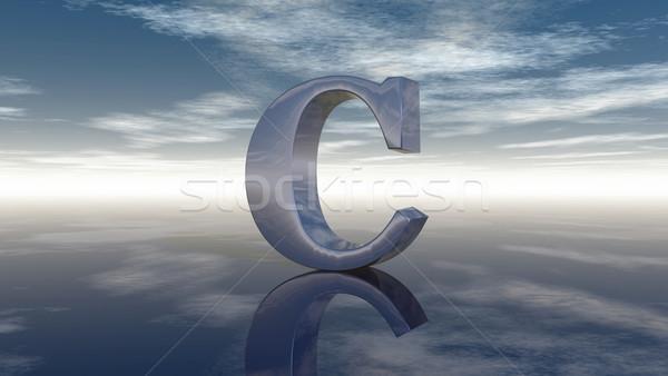 Metal letra c nublado céu ilustração 3d carta Foto stock © drizzd