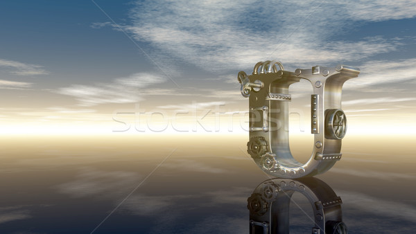 machine letter u under cloudy sky - 3d illustration Stock photo © drizzd