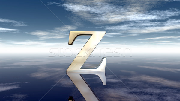 metal uppercase letter z under cloudy sky - 3d rendering Stock photo © drizzd