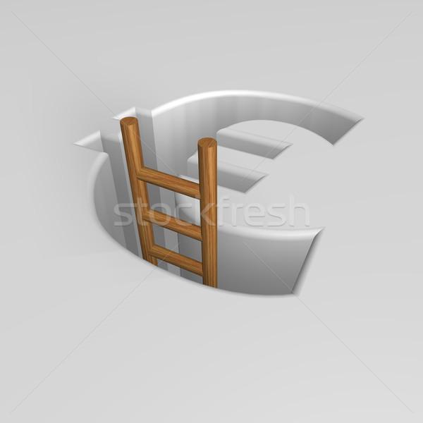 Euro imzalamak merdiven 3d illustration Avrupa delik Stok fotoğraf © drizzd
