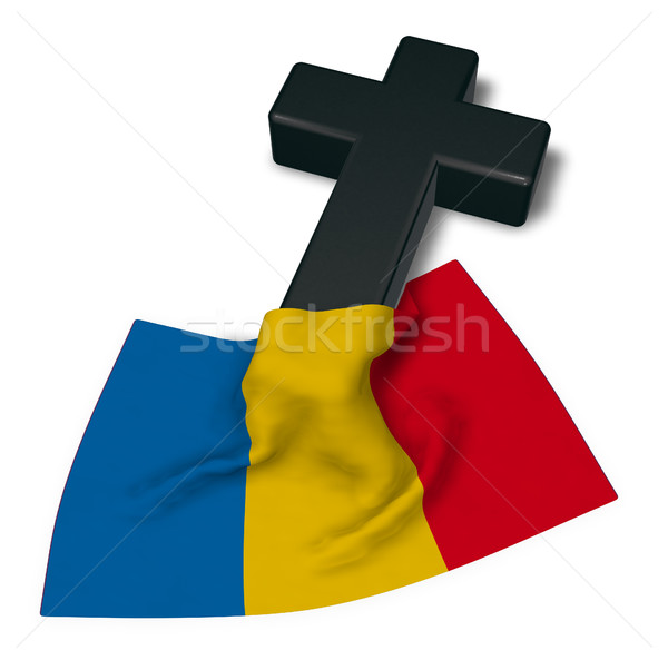 christian cross and flag of romania - 3d rendering Stock photo © drizzd