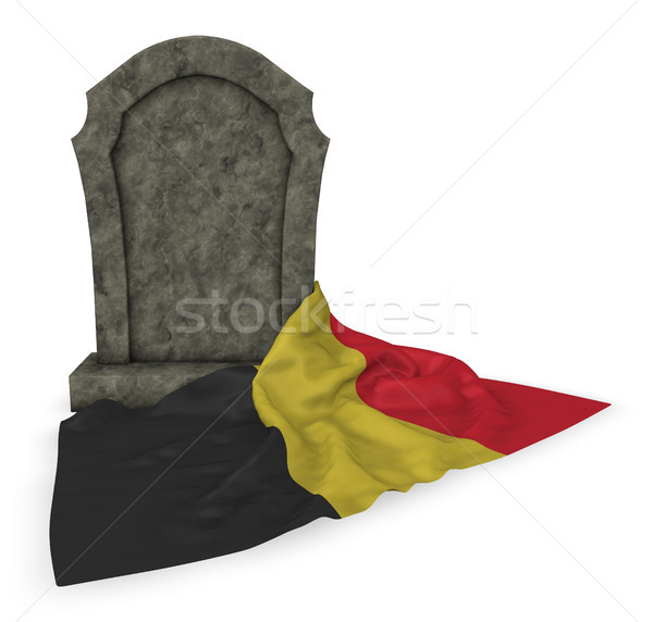 gravestone and flag of belgium - 3d rendering Stock photo © drizzd