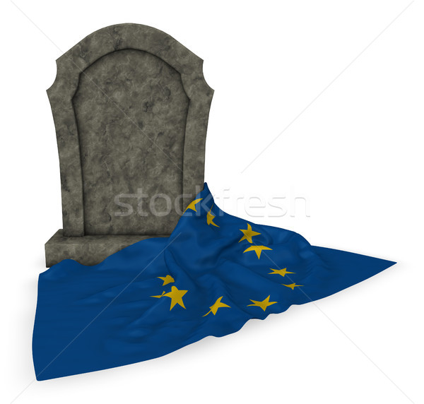 gravestone and flag of the european union - 3d rendering Stock photo © drizzd