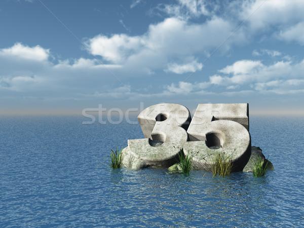 тридцать пять числа океана 3d иллюстрации пейзаж Сток-фото © drizzd