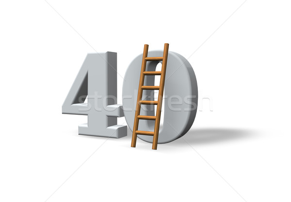 Kırk numara 40 merdiven beyaz 3d illustration Stok fotoğraf © drizzd