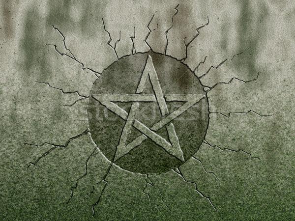 Símbolo pedra parede assinar diabo religião Foto stock © drizzd