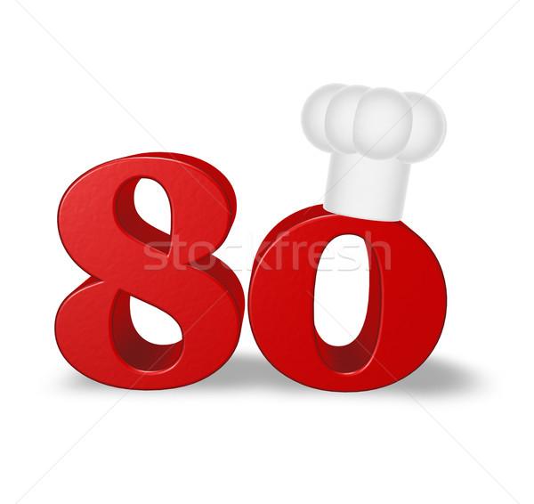 Número oitenta cozinhar seis branco ilustração 3d Foto stock © drizzd