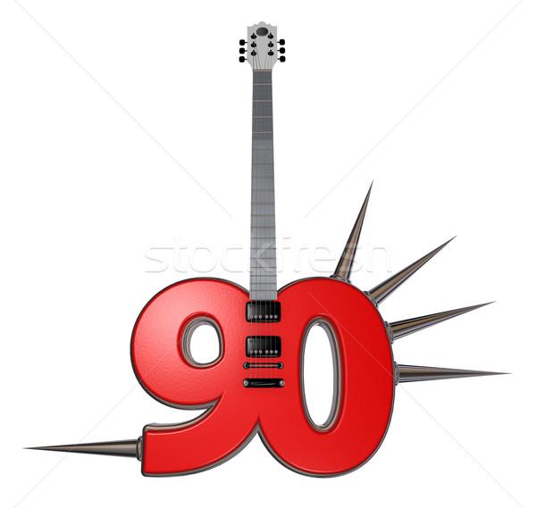 Сток-фото: числа · гитаре · белый · 3d · иллюстрации · музыку · джаза