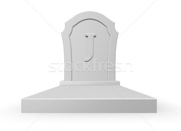 Stock photo: gravestone with uppercase letter j on white background - 3d rendering