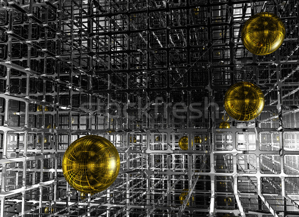 abstract futuristic background with spheres - 3d illustration Stock photo © drizzd