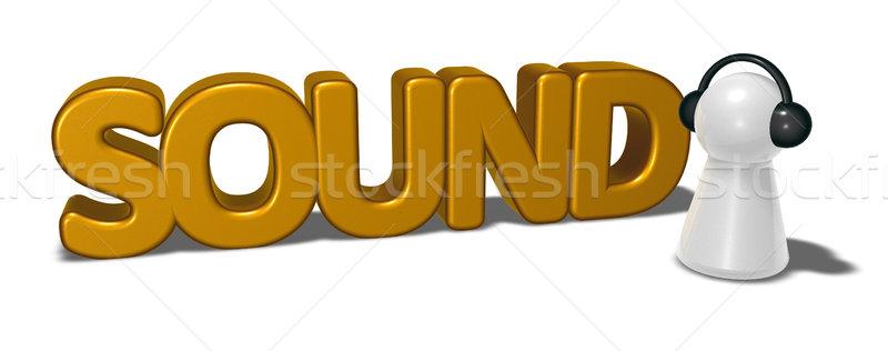 Sonido etiqueta peón auriculares 3D Foto stock © drizzd