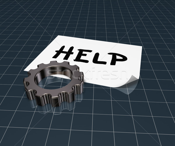 the word help on paper sheet and gear wheel - 3d rendering Stock photo © drizzd
