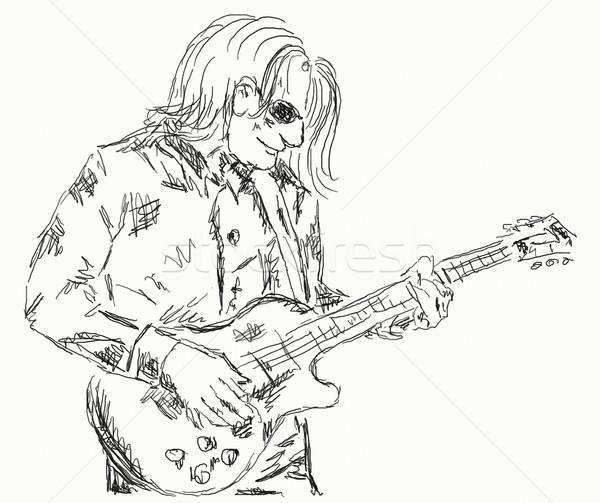 Guitarrista mão pintado ilustração festa metal Foto stock © drizzd