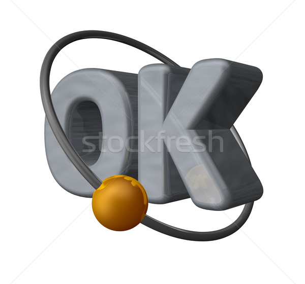 golden ball fly around the letters ok - 3d illustration Stock photo © drizzd