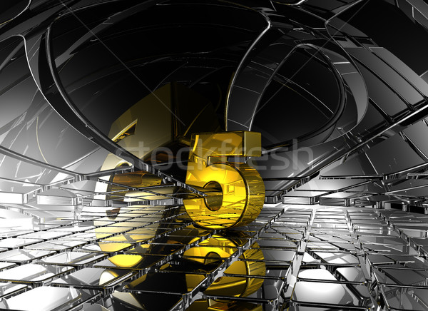 number five in abstract futuristic space - 3d rendering Stock photo © drizzd