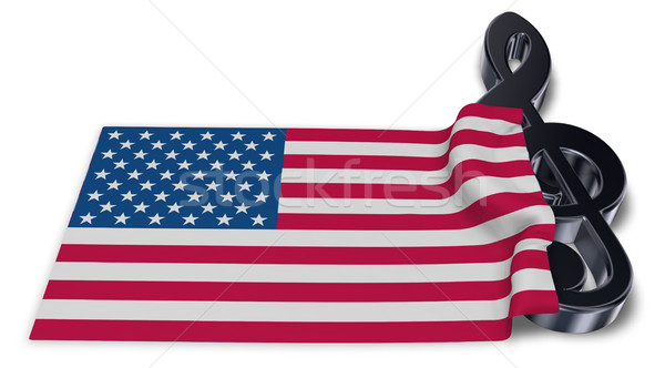 clef symbol and flag of the usa - 3d rendering Stock photo © drizzd