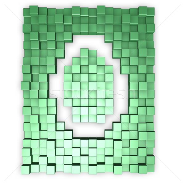 Kockák o betű forma 3d illusztráció épület háttér Stock fotó © drizzd