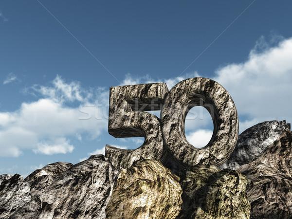 ötven kő szám 3d illusztráció buli tájkép Stock fotó © drizzd