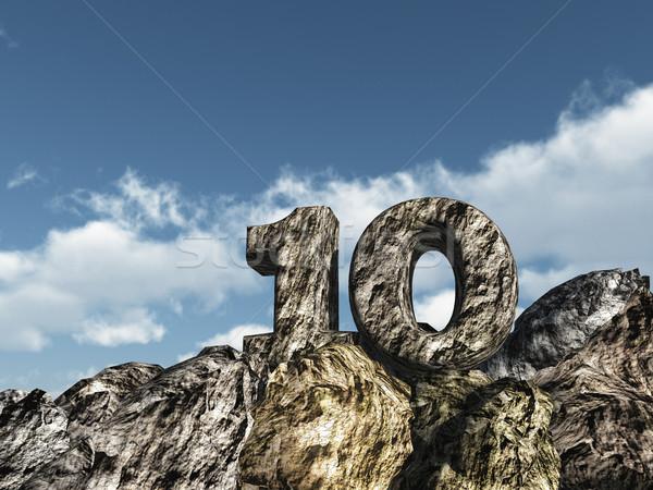 Szám tíz kő felhős kék ég 3d illusztráció Stock fotó © drizzd