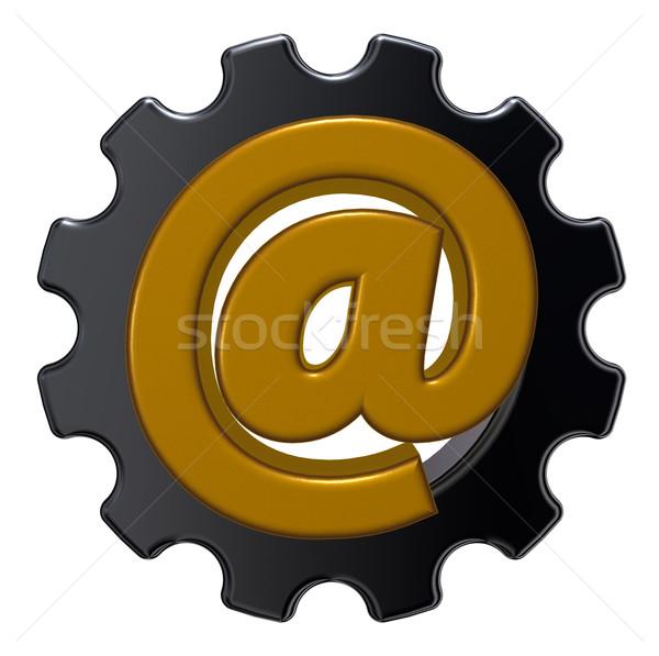 Stok fotoğraf: E-mail · dişli · tekerlek · içinde · 3d · illustration · web