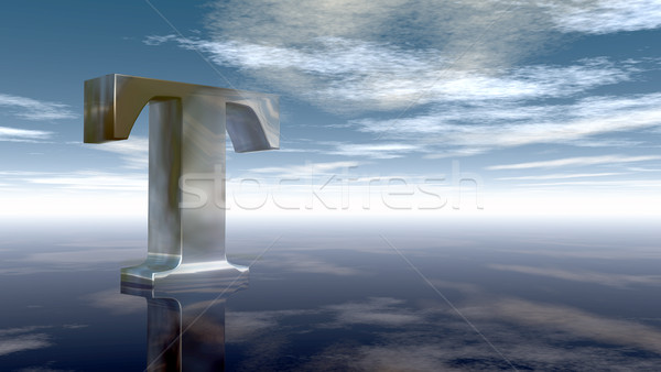 metal uppercase letter t under cloudy sky - 3d rendering Stock photo © drizzd