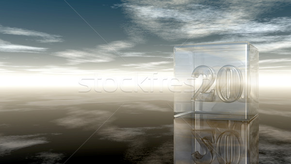 Сток-фото: числа · двадцать · стекла · куб · облачный · небе